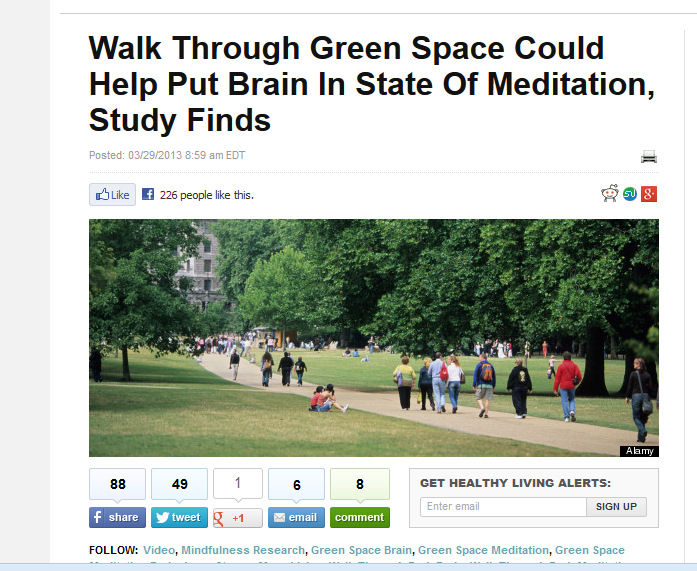 Snipped from Huffington Post http://www.huffingtonpost.com/2013/03/29/green-space-meditation-brain-walk-park_n_2964199.html