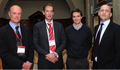 FSEM Annual Scientific Meeting, Dublin, September 2012:  Left to right: Dr Nicholas Mahony, FSEM Board Member and MSc SEM co-ordinator in Trinity College Dublin, Dr Andrew-Franklyn-Miller, SEM Consultant, Sports Surgery Clinic, Santry, Stuart O'Flanagan, and Dr Eanna Falvey, FSEM Board Member and Director of SEM, Sports Surgery Clinic, Santry, IRFU National Team Doctor.