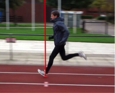 Running demonstrating an 'over-stride' with associated changes in kinematics at the hip, knee, shin and foot
