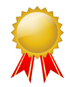 Gold Badge with red ribbon (vector)