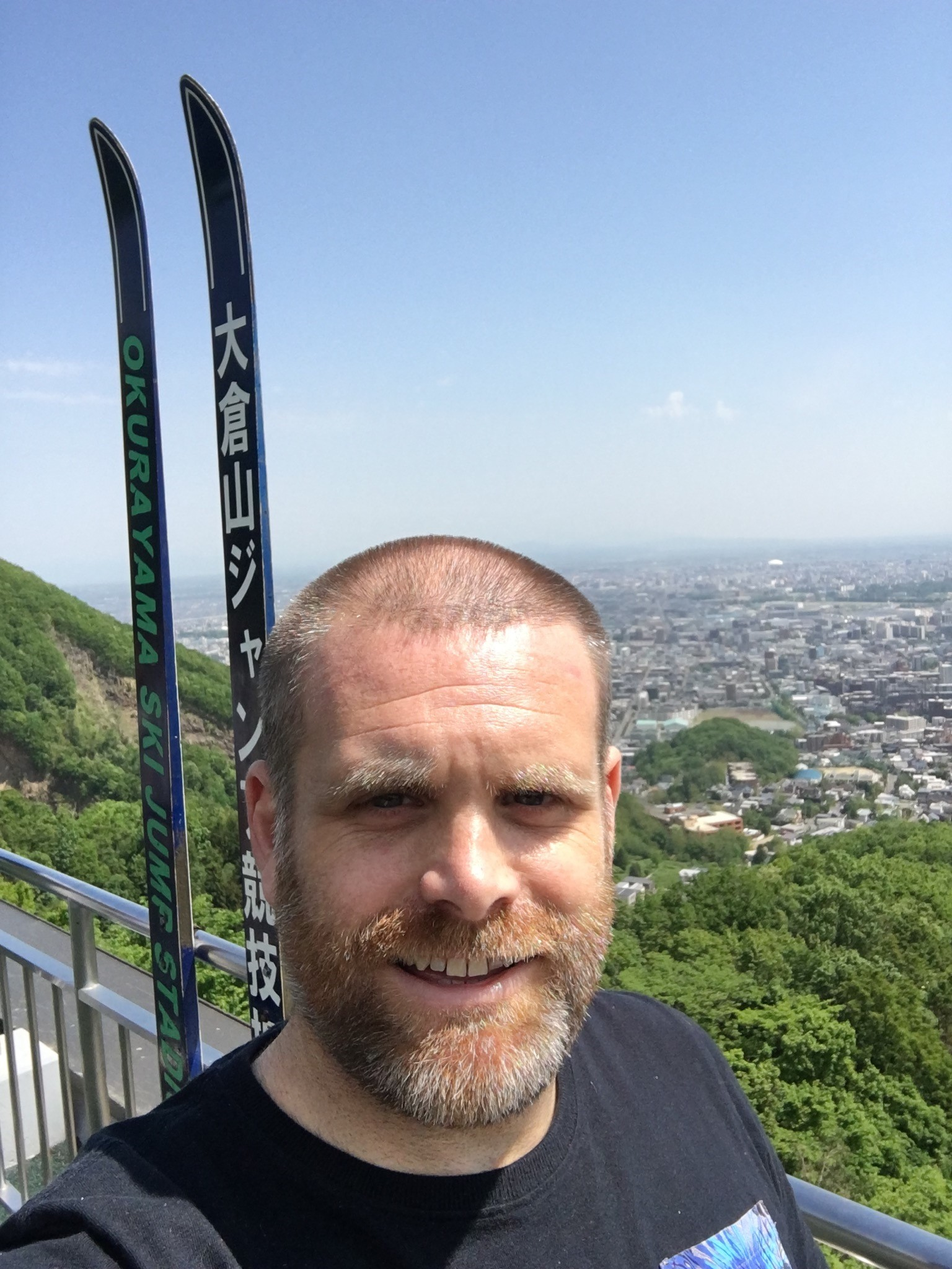 Selfie at the top of the ski jump used for the Winter Olympics in Saporro 1972.