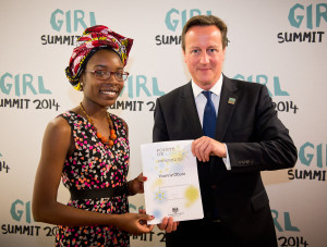 UK PM David Cameron attends the 'Girl Summit 2014' in London.