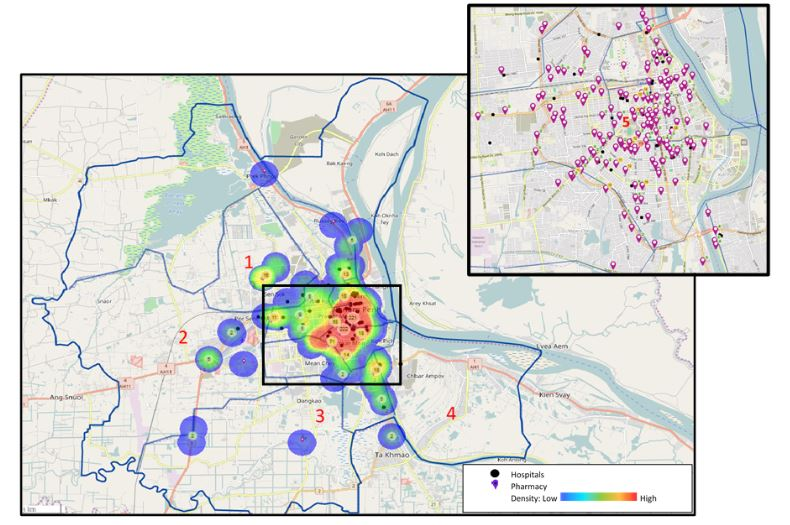 A map of registered pharmacies across the 12 districts of Phnom Penh, Cambodia