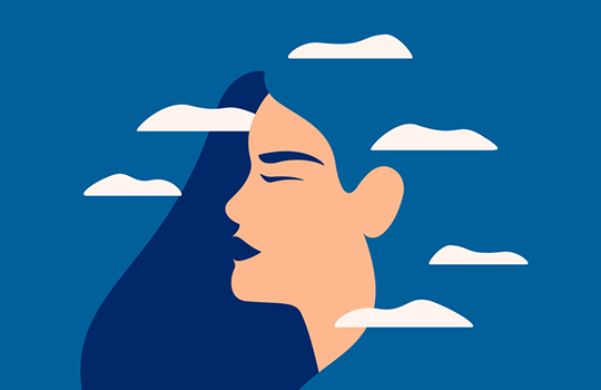 A woman surrounded by clouds