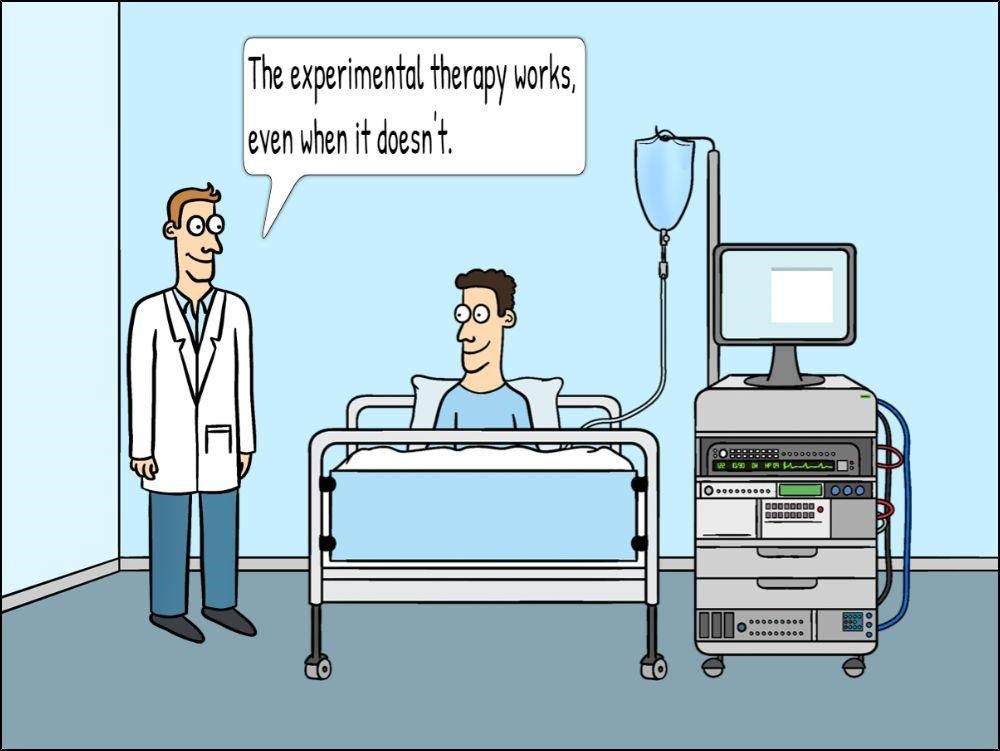 A cartoon of a doctor speaking to a patient in a hospital bed.
