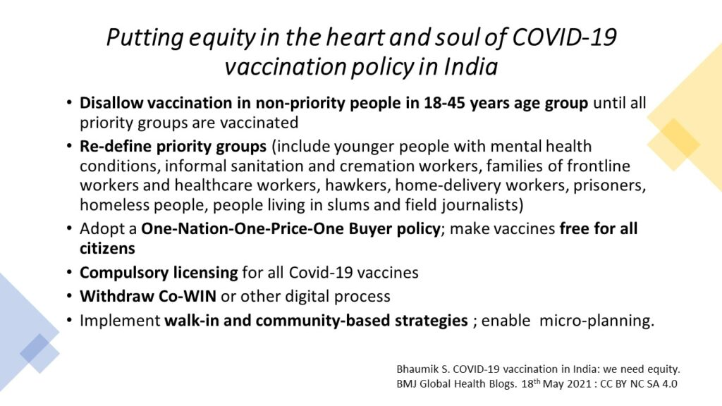 Putting equity in the heart and soul of COVID-19 vaccination policy in India