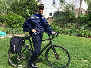 Christiaan rode his bike to the 2015 MPH and PhD graduation ceremony while wearing his academic dress.