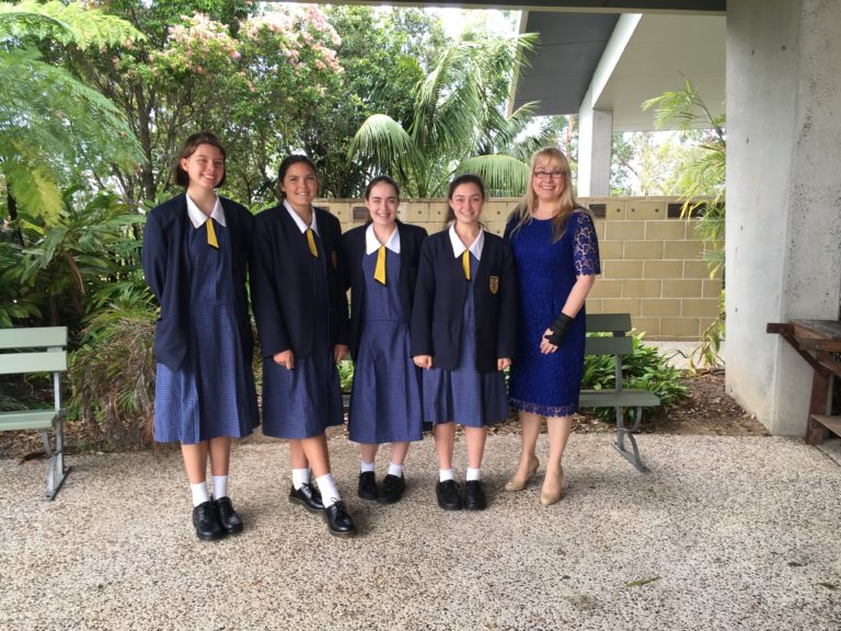 Bridie with the 4 GTPs after the school assembly presentation