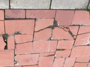 Broken paving which strikes fear in the heart of anyone who is a falls' risk