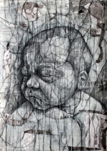 GV Art London, David Marron, Fentanyl Dreams, 2012-14, Charcoal, acrylic and collage on paper, 84 x 59cm