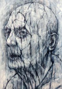 GV Art London, David Marron, Geras 3, 2013, charcoal and acrylic on board, 60 x 42cm