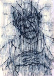 GV Art London, David Marron, Run away Robin, 2015, charcoal and acrylic on paper, 84 x 59cm