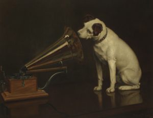 L0081645 'His Masters Voice'. Painting by Franci