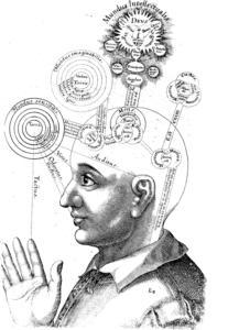 Image Wikipedia Commons, Robert Fludd, Utriusque cosmi maioris scilicet et minoris […] historia, tomus II (1619), tractatus I, sectio I, liber X, De triplici animae in corpore visione.