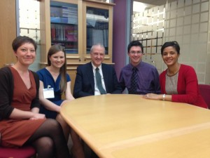 Professor Sir Bruce Edward Keogh, KBE, FRCS has been Medical Director of the National Health Service in England since 2007 and National Medical Medical Director of the NHS Commissioning Board since 2012. Here is with (from right to left; Laura-Jane Smith, Natalie Silvey, Bruce Keogh, Damian Roland and Jackie Lynton) junior doctors involved in NHS Change Day.