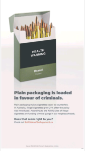 Advertisement by JTI-Macdonald against tobacco plain packaging in Canada