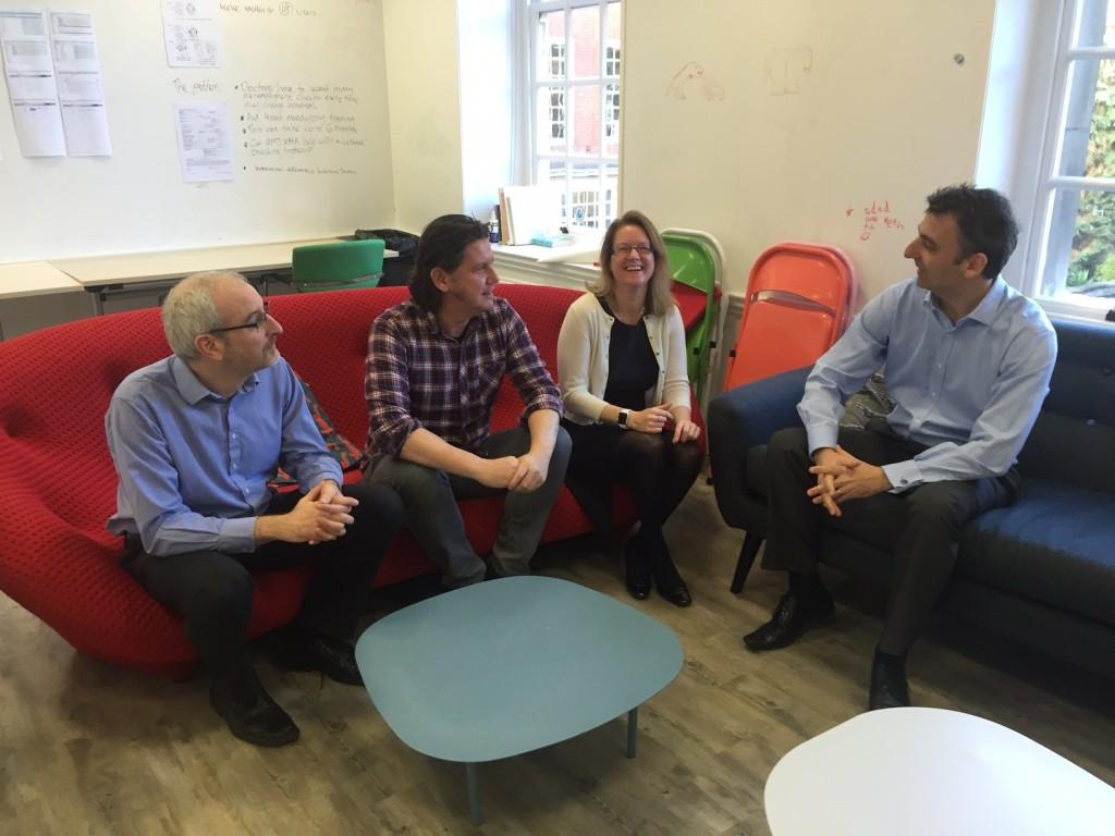 Chris Wroe: Health Informatician, Michael O'Connor: UI Designer, Esther O'Sullivan: Head of Digital Strategy and Kimon Kotronis: Health Informatician.