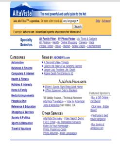 A 2009 screenshot of AltaVista.com